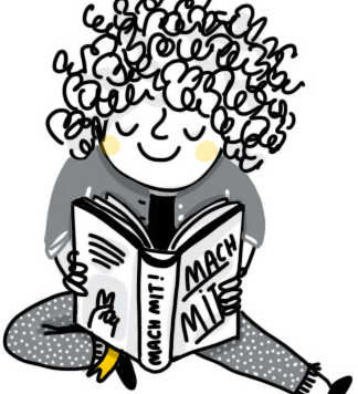 """Illustration von einem Mädchen, das ein Buch mit der Aufschrift """"Mach Mit"""" liest. Copyright: Frollein Motte"""
